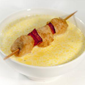 Суп сырный с куриным шашлычком